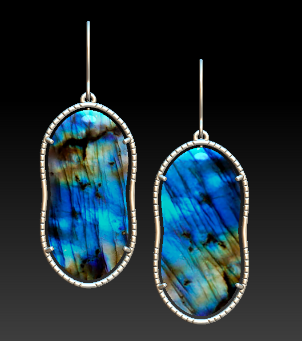 Same texture applied in a different orientation on a pair of earrings