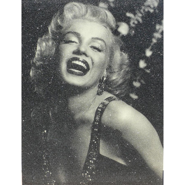 "Russell Young, ""Marilyn Monroe Laughing"", 2009. Black and gold, acrylic and enamel screenprint on canvas with diamond dust"