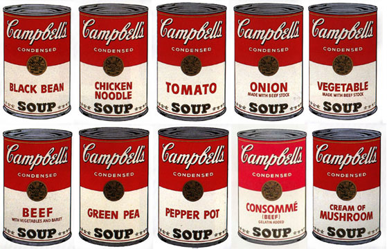 Sunday B. Morning Portfolio of 10, Soup Cans, c. 1980. Screenprint