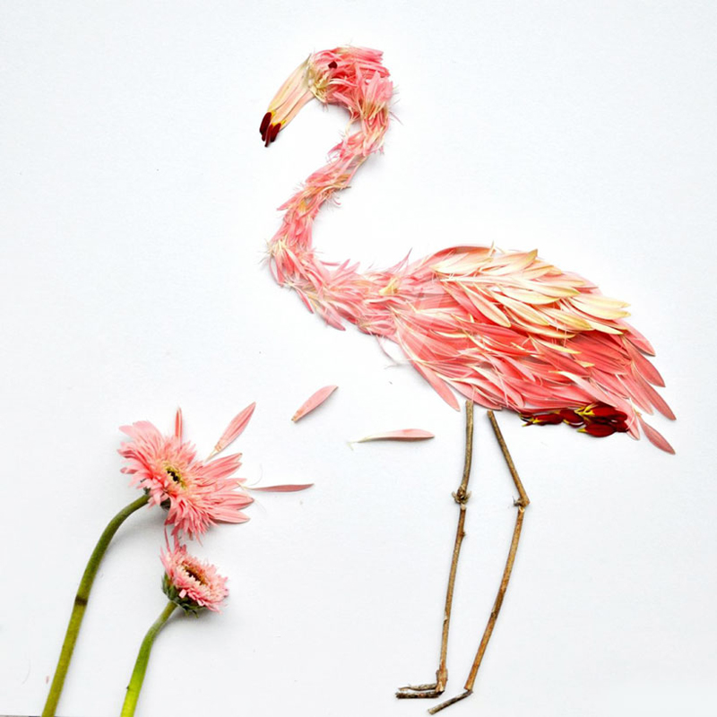 Red Hong Yi, Flamingos (Pink gerberias and twigs) 2014