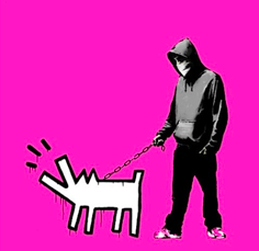 "Banksy, ""Choose Your Weapon,"" 2010.   Rare screen print in neon pink from the signed and numbered edition of 25."