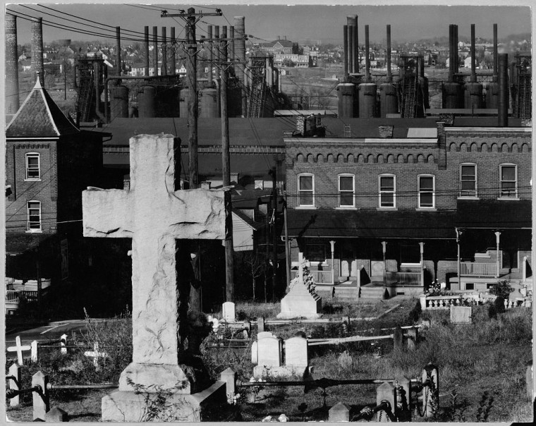 Walker Evans,   Graveyard, Houses, and Steel Mill Bethlehem, PA, 1935   (printed posthumously)