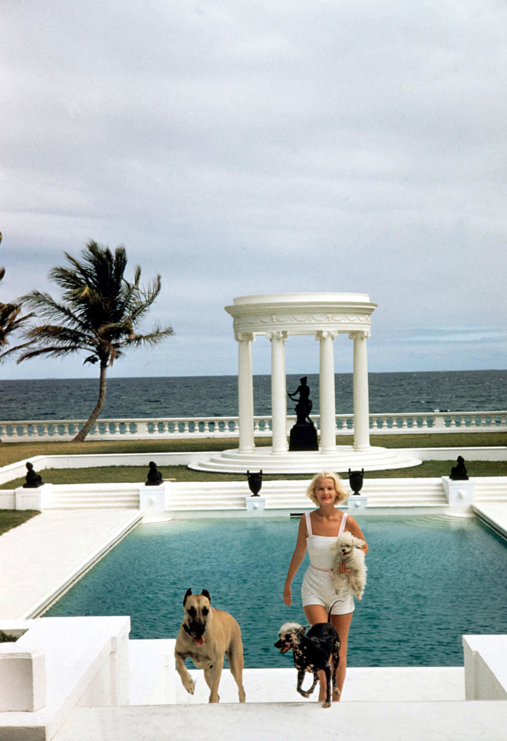 Slim Aarons,C.Z. Guest and her dogs at her Palm Beach estate, circa 1955. C-print