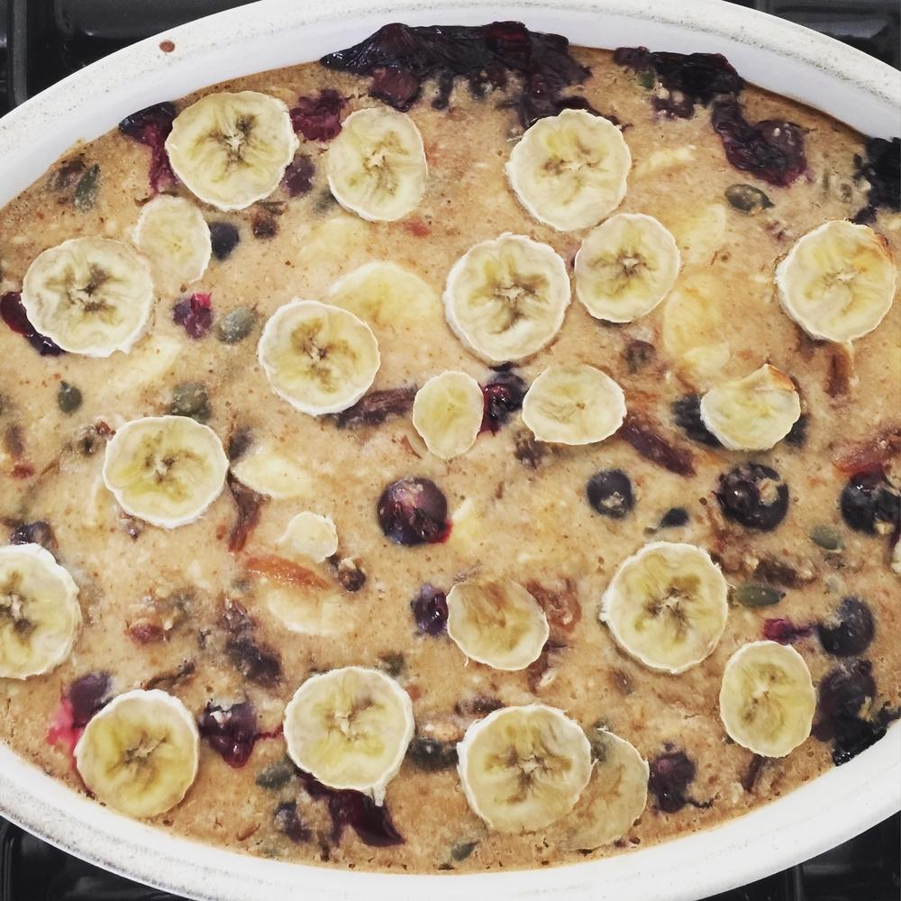 banana blueberry bake