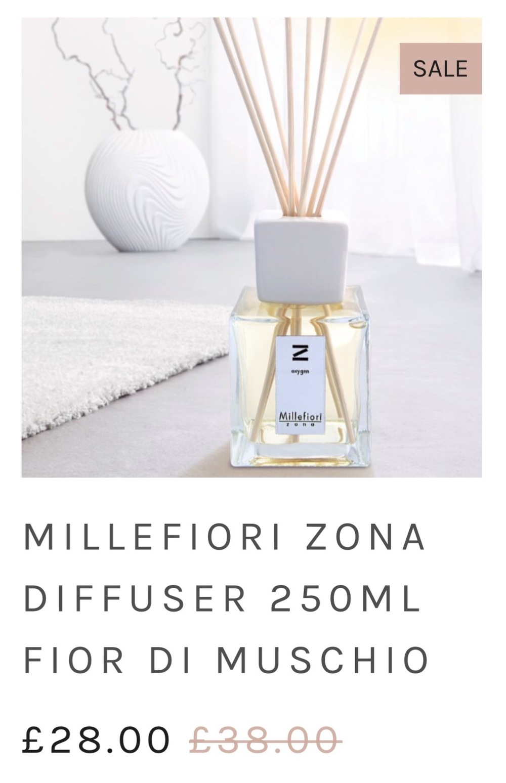 Our home scents are on sale too.  Diffusers are now from £19 and candles from £16.