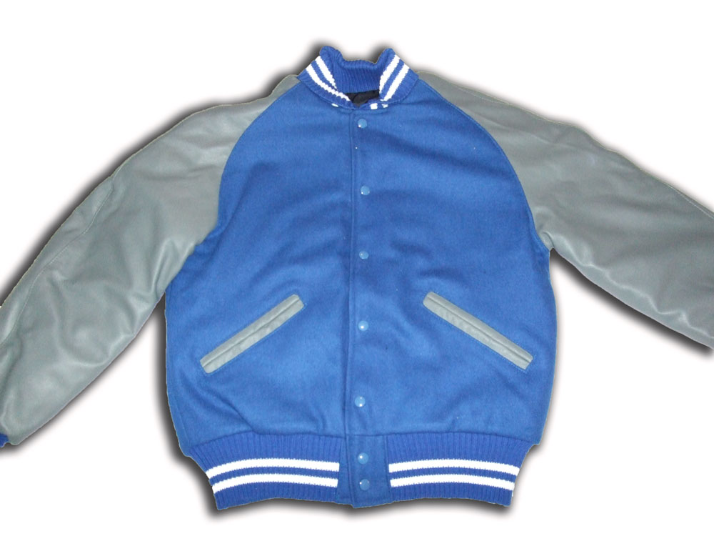 Blue and Grey Utah Letterman Jacket