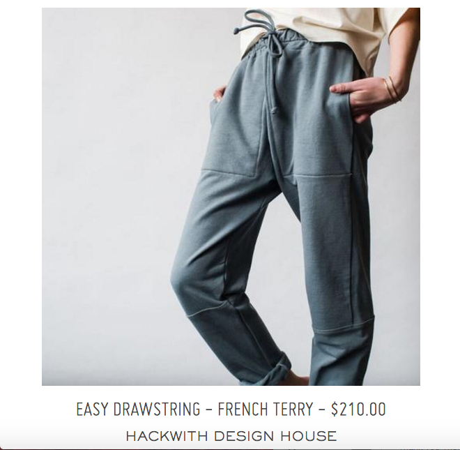 Hackwith Design  has our French Terry cut & sewn in Minniapolis