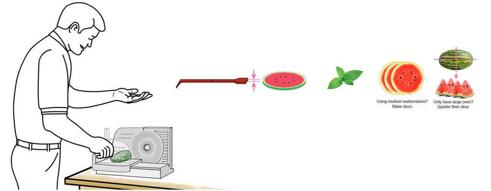 CQ-Strawberry-Watermelon-Mint-Infused-Water-Recipe-Step-1-Cut-Fruit-Using-CQ-Slicer-Key