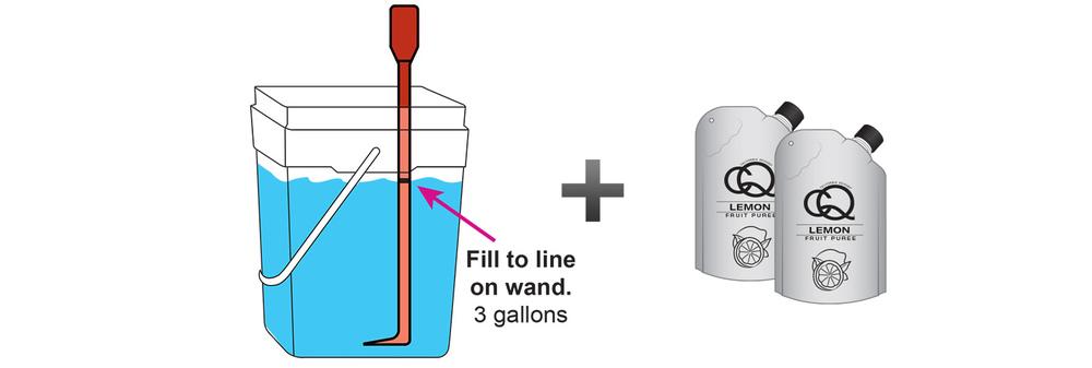 CQ-Lemon-Mint-Julep-Cocktail-Mixer-Recipe-Step-3-Fill-CQ-Mixing-Bucket-Water-and-1-pouch-CQ-Lemon-Puree