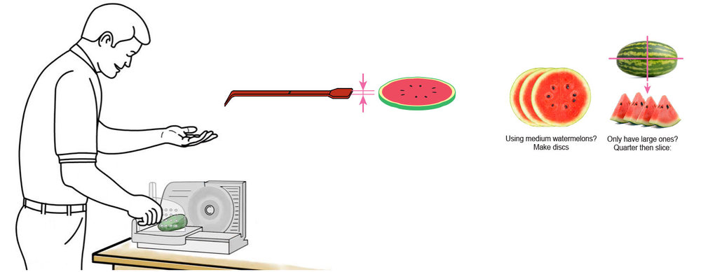 CQ-Strawberry-Watermelon-Infused-Cocktail-Mixer-Recipe-Step-1-Cut-Fruit-Using-CQ-Slicer-Key