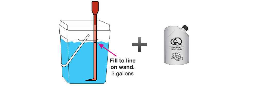 Mango-Pineapple-Orange-Infused-Water-Recipe-Step-3-Fill-CQ-Mixing-Bucket-Water-and-1-pouch-CQ-MANGO-ORANGE-Puree