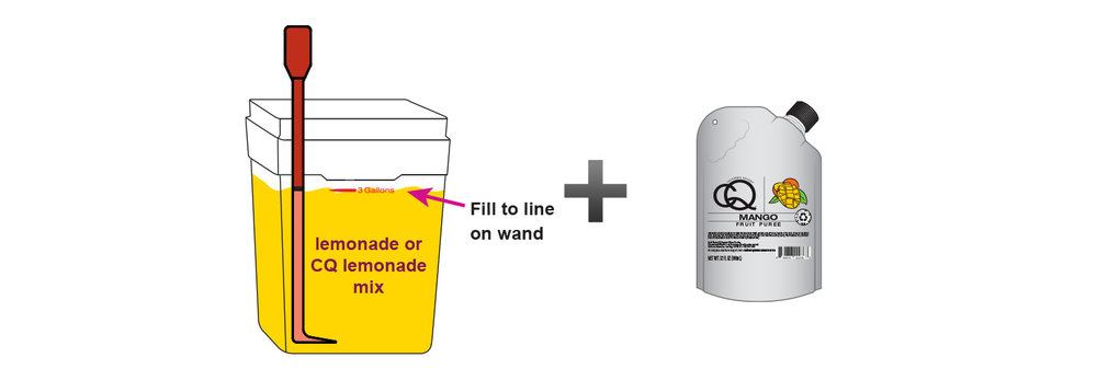 CQ-Mango-Mint-Lemonade-Lemonade-Recipe-Step-3-Fill-CQ-Mixing-Bucket-Water-and-1-pouch-CQ-Mango-Mint-Lemonade-Puree.jpg