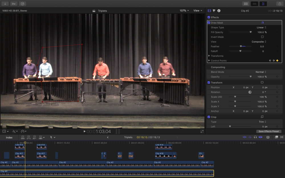 Here's a screenshot of the editing process in Final Cut Pro. The red lines indicate the mask I have applied around light blue shirt Ben Charles. Notice how closely I had to cut next to purple shirt Ben Charles.