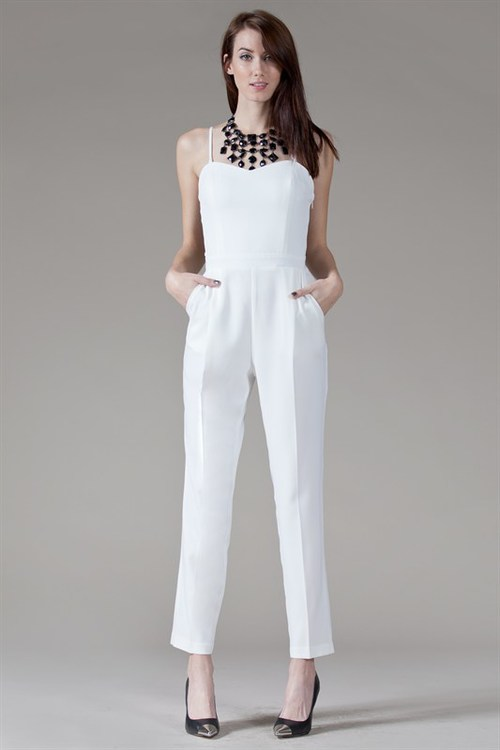 White Dressy Jumpsuits - Breeze Clothing