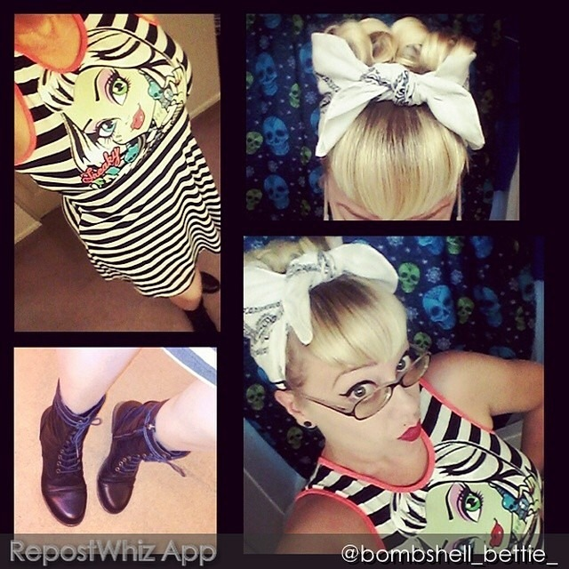 """Dear @bombshell_bettie_,thanks for proving great hair and Er shoes bring an outfit together! Love the bang and kerchief combo. Xoxo, ninaREPOST FROM @bombshell_bettie_: """"My Look Today 😍"""" (via #RepostWhiz @RepostWhiz app) http://ift.tt/1m6EnXB"""