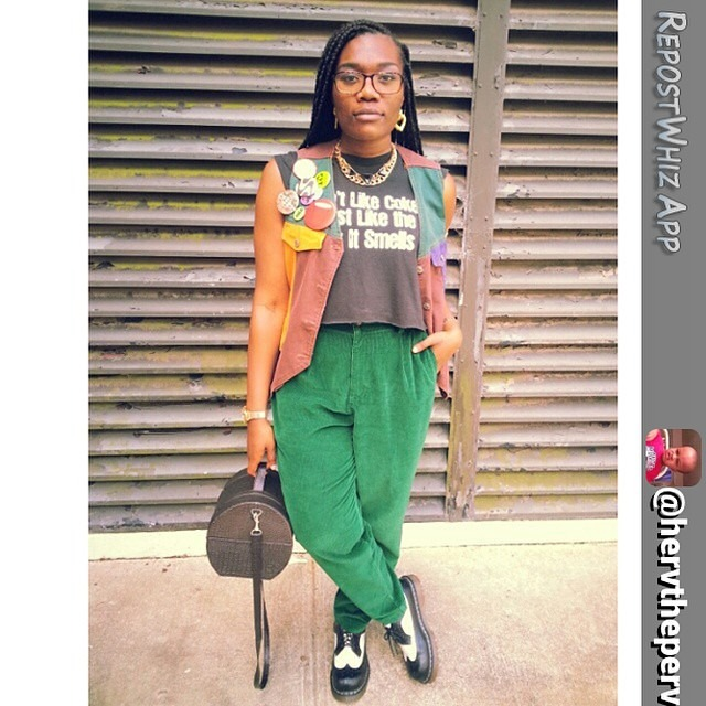 Dear Kat, @hervtheperv is giving so much street style inspiration again! Love the colorful street chic she has nailed down. Xoxo, nina via @RepostWhiz app: I don't like coke, I just like the way it smells | 📷 by: @keyanna_monique #ootd #wiwt #casualchic #schooldaze #retro #90s #corduroys #green #vest #colorblock #thrifted #drmartens #drmartenstyle #pins #redsolocup #zigzag #croptop #diy #barrelbag #hobochic #boxbraids (#RepostWhiz app) http://ift.tt/XeVeB9