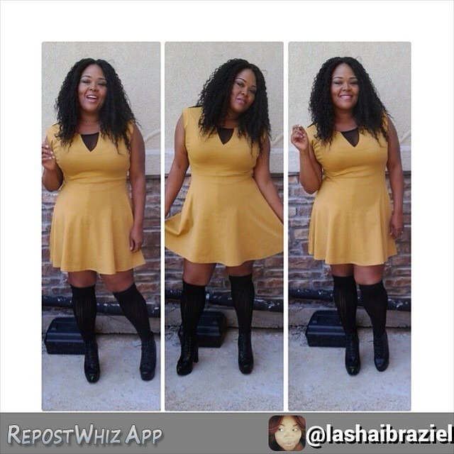 Dear #fashionpenpals, Raise your hand if you love knee socks and jewel tones! Everyone's hands should be raised after seeing this simple yet fun #fallfashion look from Ms. @lashaibraziel! 💛 Kat via @RepostWhiz app: Fall is around the corner….ive fallen lovecwith knee socks! Dress @ebay Knee socks @forever21 Shoes @shopbdonnas #Keepingitcurvy #biggirlsrock #tcfstyle #skorch #plusmodelmag #plussize #skaterdress #fashionpenpals #forever21 #bdonnas (#RepostWhiz app) http://ift.tt/1xqCbEO