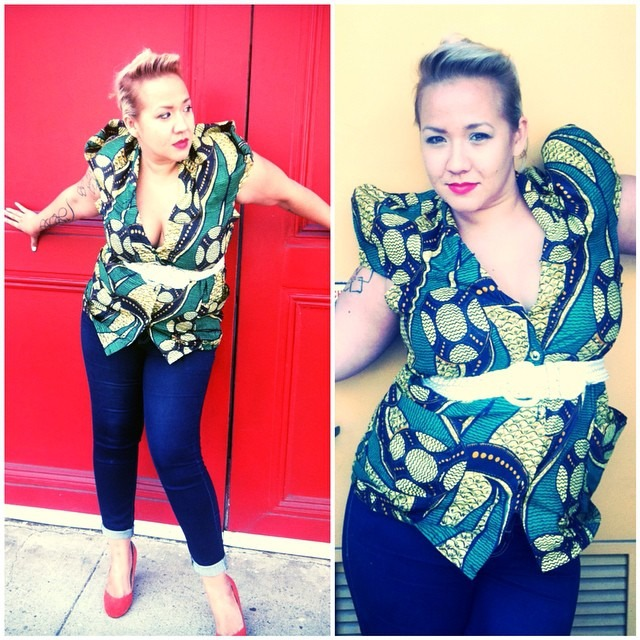 Dear kat, I've worn this top several times now since I got it from @squaresvillevintagela but I never get a chance to stop for a photo. 3 things I love about this top 1. The fabric! I have several pieces I've made from similar gorgeous batiks as this I can't stay away 2. It came as an ensemble with skirt and head wrap that I can use seperate 3. Did you see the sleeves? Traditionally they are worn up but they look great tucked into themselves too. This shirt is not for wallflowers that's for sure! Xoxo,nina http://ift.tt/1qzBx2s