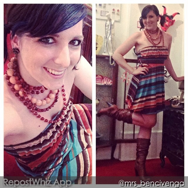 """Dear @mrs_bencivenga, howdy! Live how your accesories played up the feel of your look! Purify lady! Xoxo, nina FROM @mrs_bencivenga: """"Dear Nina, Feeling some Southwest flair today! I picked this dress up 5 years ago off a discount rack at Macy's. My Guess boots go so well with it, and I love an excuse to rock some pigtails. I originally layered a huge turquoise howlite necklace and carnelian beads but before I could take a selfie a customer bought the whole look off my neck! So here's my second look - some more carnelian and a huge coral necklace. I hope you had a day as great as mine! #fashionpenpals #favor #shopatfavor #hotcakesdesign #sf #sanfrancisco #sfmade #handmade #handmadeinsf #designermade #vintage #oneofakind #jewelry #necklaces #earrings #rings #bracelets #fashion #ootd #lotd #lookoftheday #bluehair #dollswithdye #ilovemyjob #ilovejewelry"""" (via #RepostWhiz @RepostWhiz app) http://ift.tt/1n7XmkF"""
