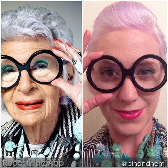 "Dear Nina, We've talked a bit about icons we've lost this week, so I thought that today's #throwbackthursday post should highlight a #styleicon who is very much still with us, and still working a fabulous style that's all her own, Ms. @irisapfel_ herself. This picture is from last year's Halloween costume. Guessing my costume was like a test of just how fashionable you are. ❤️ Kat FROM @pinandhem: ""Gettin' there: my interpretation of fashion icon Iris Apfel #happyhalloween #halloweencostume #irisapfel #fashionicon #fashion #style #vogue #timelessstyle #moreismore"" (via #RepostWhiz @RepostWhiz app) http://ift.tt/VqEOoi"