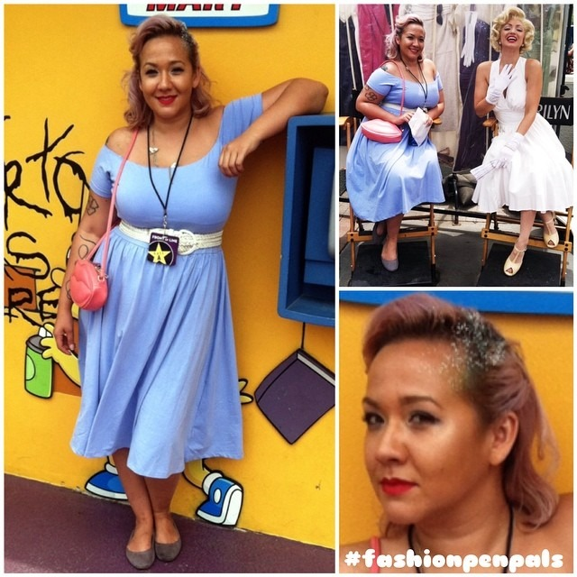 Dear kat, DO not adjust you screen yes I look like the frilliest ice cream come you ever did see. On this weekends universal studious birthday trip I wanted an outfit that I can stay cool in and feel like the birthday princess I was. Once again I channeled vintage Hollywood but with a twist. I am wearing a #periwinkle #bardot style dress made if light weight jersey. My pink lips purse added a layer of kitch and held my essentials. My #lavender hair was curled and pinned back to stay out of my face and cool. For extra sugary sweetness I put baby blue and white glitter in my hair gel. #asos dress and purse all under $60! Xoxo, nina http://ift.tt/1v3S8zu