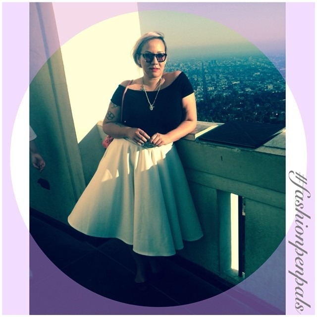 Dear Kat, Me and my boo took a birthday trip down to Hollywood this weekend for our birthdays. I thought I would channel old Hollywood this weekend. For this #fashionpenpals (Hollywood edition) I paired a scuba fabric #circleskirt with a #bardot style off the shoulder top. Both items were #Asos. #lavender hair and a side braid/bun was the best I could with my hair after a 6 hour car ride in 100plus heat and no air conditioning. I'll tell you all about the airbnb catastrophe later! Griffith observatory was breathtaking defiantly worth the rush :). Xoxo, nina http://ift.tt/1niUzob