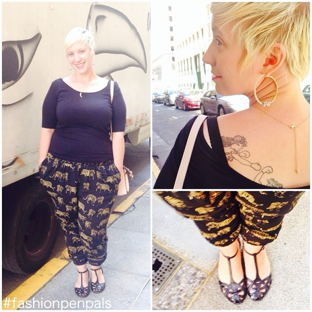 Dear Nina, Today's look is inspired by you! #fashionpenpals has inspired me to challenge the limitations I've set up in my mind when it comes to what I can and can't wear, and look out everyone, I'm actually wearing *pants.* It's like my bottom half just discovered feminism, thanks to these fierce tigers from @gwynniebee! I reeeally don't want to send them back cheers to trying something different and loving it. 💛 Kat http://ift.tt/1kbsfDO