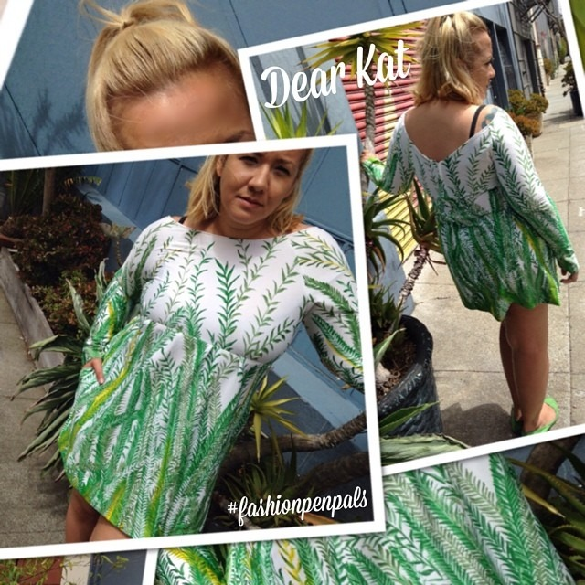 Dear Kat, Here is another #fashionpenpals outfit dedicated to #DIY. When perusing through my local #goodwill I found the most glorious Mrs. Roper style leisure mumu. I loved the fern print but I didn't think I could pull off the turtleneck mumu as good as the Three's Company star. I cut the bottom off the dress and brought it up to the mid breast line to create a swinging 60's silhouette. Some minor adjustments to the neckline and arms and Now I have a flattering fun new summer dress! Xoxo, Nina http://ift.tt/1v7cWkc