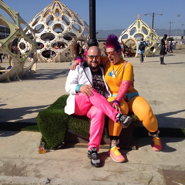 Dear Nina, I'm not really a Burning Man person, but these 2 goofballs were some of my favorites at the Decompression/Burning Man event in West Oakland a few weeks ago. I like anyone who dares to be a little different and has fun doing. And what can I say? So much color! Get inspired to embrace the weird this fabulous weekend, #fashionpenpals. 💛 Kat http://ift.tt/1nTpBGr