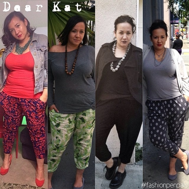 """fashionpenpals: Dear Kat, You know I've been obsessed with the jogger pant look the last few months. I've had quite a few friends say """"I wish I could wear them to work but they would look like pajamas on me"""" and various other """"I wish"""" statements. Here are four examples from the last few months of how I styled the jogger pant. I think they work really well as a professional looking pant option! Xoxo, Nina"""