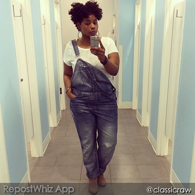 fashionpenpals: Loooooooving the way @classicraw is rockin the overalls like straight couture. This fine momma always has the best makeup to go with her stylish east fits. FROM @classicraw: (via #RepostWhiz @RepostWhiz app)
