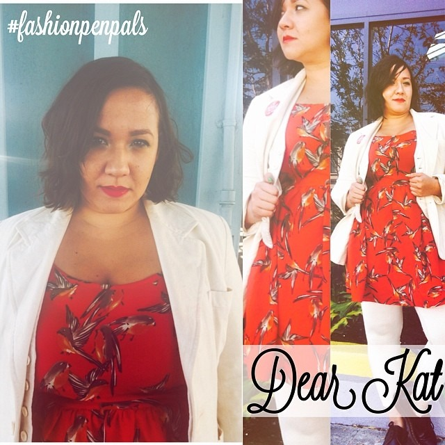 Dear Kat, Put a bird on it! Had one of those days where everything I put on didn't feel right. So instead of figuring out what look I was going for, I decided to throw on colors I wanted to wear. Love how red can translate so many ways. Dress was #thrifted Jacket and Vest #vintage from my mommas closet. Hope your week is flying by. Heehee pun intended. Xoxo, Nina http://ift.tt/1kIbui8