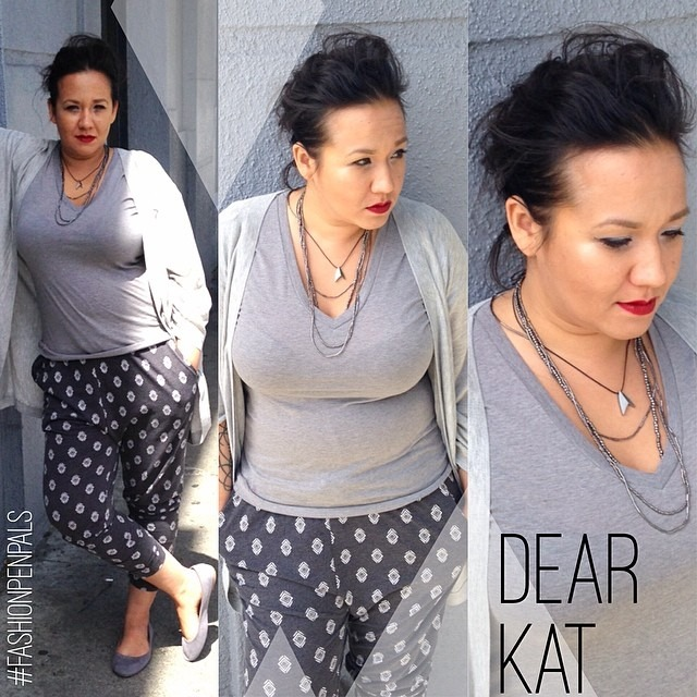 Dear Kat, I'm all greys and comfort today. As you know just because I want to be comfy doesn't mean I like my style to suffer. I'm loving the joggers that are out now. They are flattering and don't feel as confining as jeans (you know I hate wearing jeans). I'm wearing grey slouch jersey joggers I got for $12 at H&M. Also can you see the hidden nerd charm:). The titanium Star Trek insignia necklace was a present from Galen (I think he got it from #thinkgeek ). The other beaded necklace was made by my momma! Xoxo, Nina (at 9 to 5)