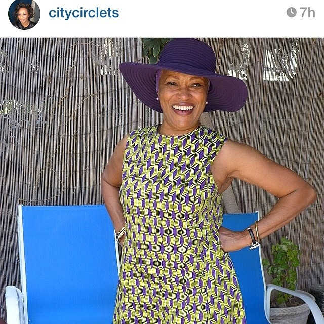 Dear Nina, Holy purple, #fashionpenpals! I just had to repost this picture of @citycirclets' mama! Love this dress, which was custom-made by @matthewpaulrobinson from SF, using fabric Ms. Circlets picked up from Kenya (and also uses in her gorgeous bracelets!!). Great style clearly runs in the family. 💜💛 Kat