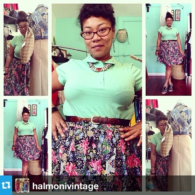 Dear Nina, I think it's time that we organize a #fashionpenpals meetup at chateau @halmonivintage so that we can play dress-up with this little cutie at her shop! When/where/who's coming, #Oakland and #BayArea #fashionistas?? Let's put something together, but in the meantime, start planning your favorite funky vintage look for the occasion. 💜 Kat #bigbellyfashion #ootd #halmoni #halmonivintage