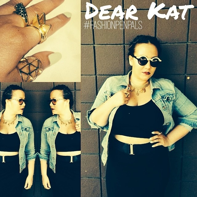 Dear Kat, (#fashionpenpals L.A.edition) back in high school I went through a #goth stage like every other teenager in the 90's. Since I'm so close to my home town I thought I'd bring back the black :). I'm sporting my new geo rings and panther bling I got at Pill Popper at The lab yesterday. I let my accessories be the focal point of my outfit. Mixed my H&M basic jersey pencil skirt and crop top with #vintage denim jacket and collar necklace. P.s. No Katy perry jokes about my hair :). Xoxo, Nina (at Venice Beach, Los Angeles)