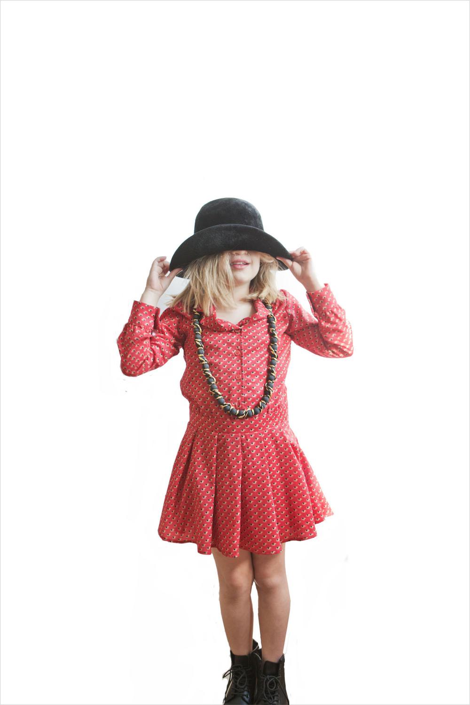 Vintage hat, vintage necklace, La Miniatura dress, Doc Martins shoes.