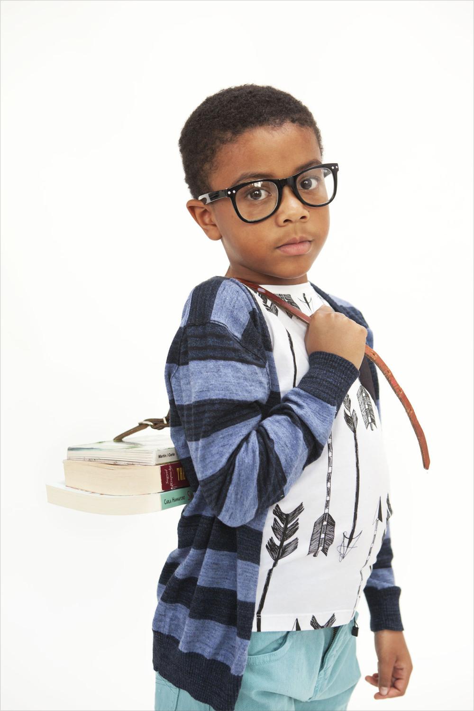Teeny Tiny Optics glasses, Zara sweater, Bandit Kids tee shirt, Zara jeans.