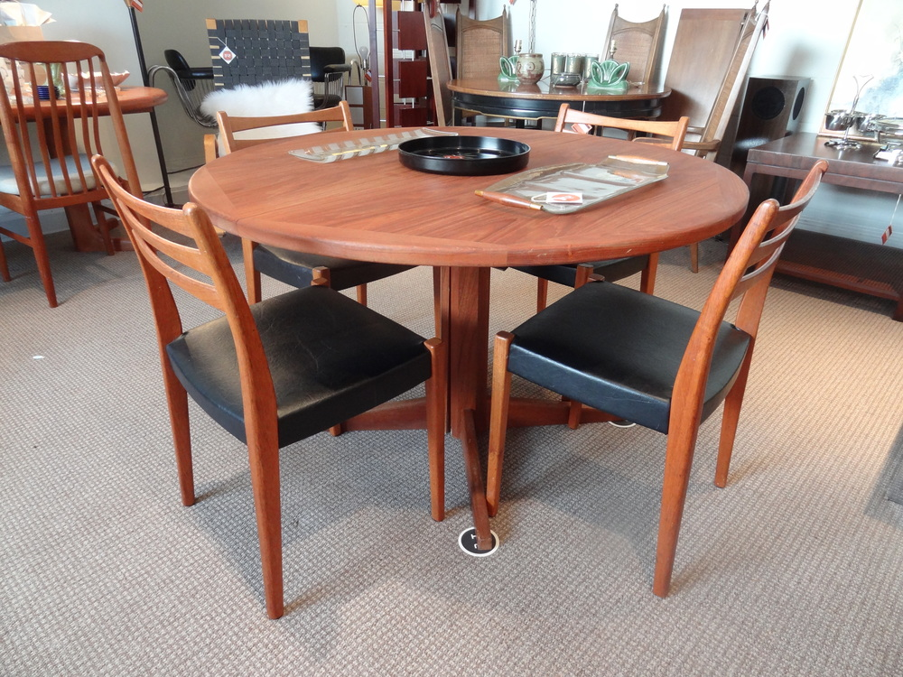 First up is this lovely teak table with Svegard dining chairs that are sold seperately.  There is no leaf for this table, but would look great for a studio space or an eat in kitchen.