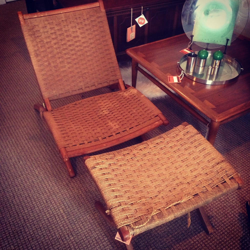 Wegman-style rope lounge chair with ottoman. This piece is well-loved but has miles of life left. Who wouldn't want to recline and relax in this stylish seat?