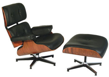 The iconic Eames lounger and ottoman (ca. 1956) are still sought-after items.