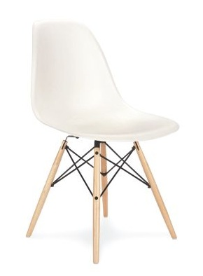 Eames molded plastic side chair with wooden dowel legs, 1950.