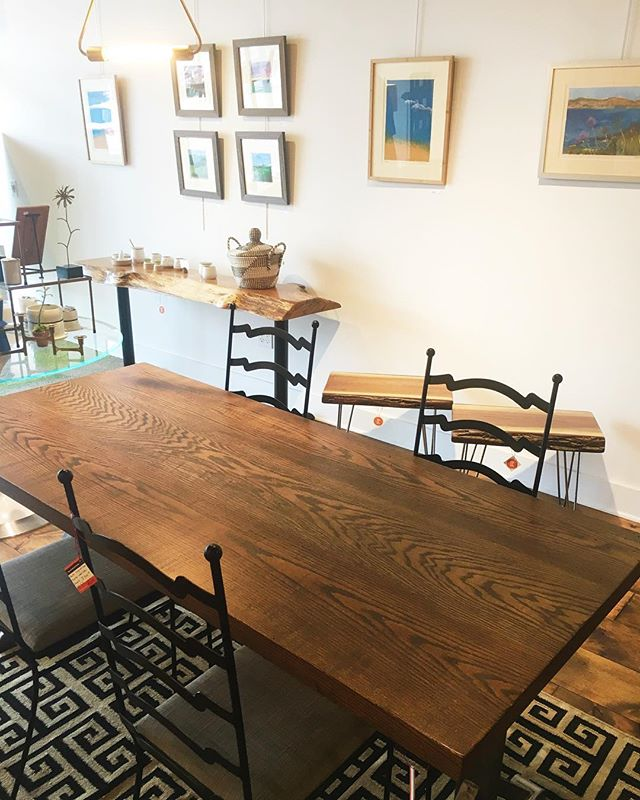 If you missed our Pop-Up Shop with Once Upon a Tree Decor last night, never fear! We still have several pieces for sale, including this beautiful oak dining table, live edge benches/tables, and white oak console. Also take a look at local artist Susan Dubrunfaut's monoprints (meet the artist at the opening reception on Saturday from 6-9pm)! * * * * * #reconsideredhome #15EState #visitmediapa #moderndesign  #midcenturymodern #mcm #vintagelovers #homedecor  #homedesign #modernfurniture #homedecor #designlovers #designaddict  #phillyvintage #phillymidcenturymodern #phillymcm #phillyhomedecor #moderndesignlovers #midcenturymodhome #vintagefinds #vintagestyle #vintagehome