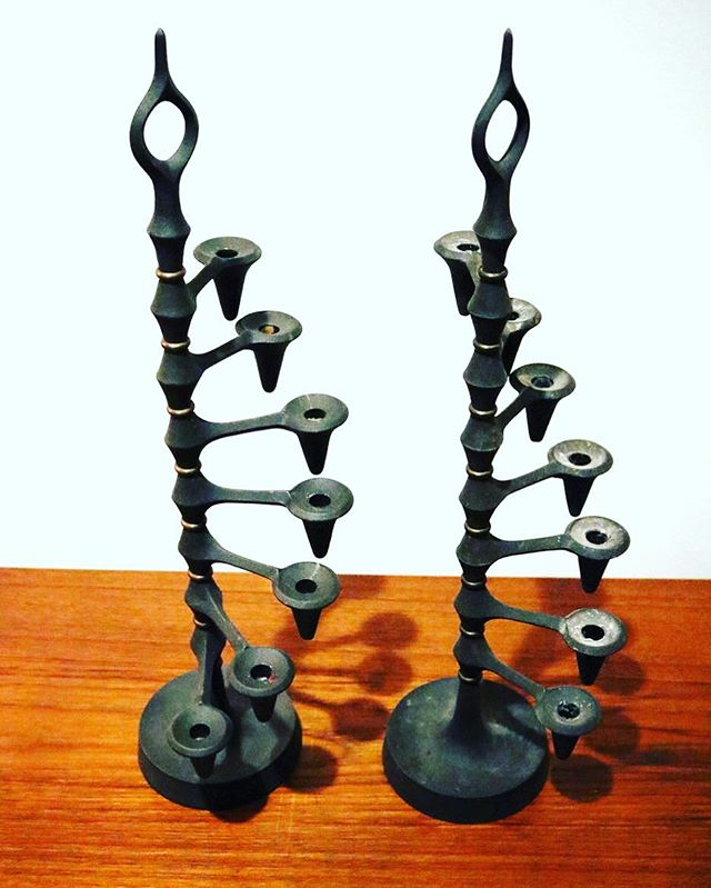 Tall Dansk iron candelabras #onsale #shopclosing sale continues. Pickup in store on Dec 1-2 or 8-9. #reconsideredhome #shoplocal . . . . .  www.reconsideredhome.com/objects