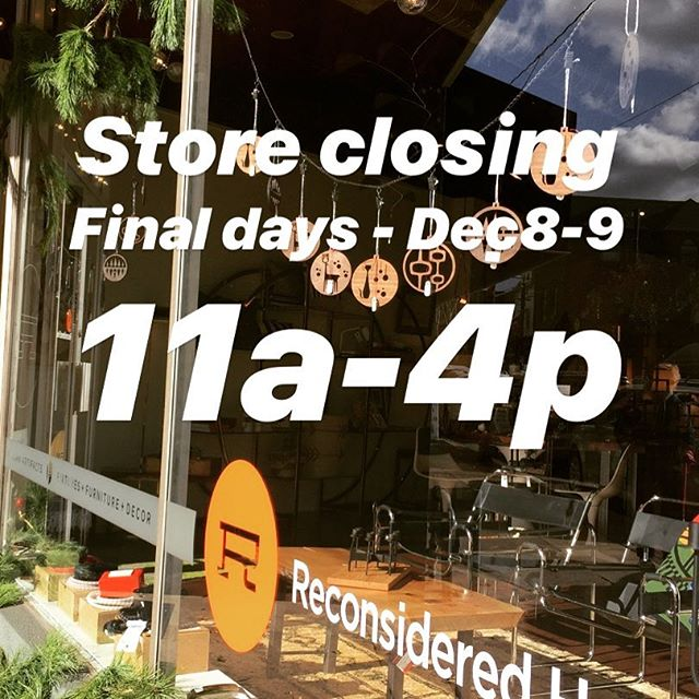 Sadly our last 2 days are upon us. #storeclosing It's been a blast and I'm so happy to have met so many cool people along the way- special shout out to all the former employees of RH who have treated this shop as their own. 💕💕 . . Please help us clear the store to make way for @localhomegifts expansion, great things to come from them so stay tuned. 🥂✨ . . Please folks to remember to shop local and support small business as it really does make a large impact.  40% off liquidation sale now online, or stop by this weekend 11-4 Sat/Sun . . #reconsideredhome #danishmodern #followyourdeeams #8yearsinbusiness #15eaststate #midcenturymodern #antiques #holidaygiftsonsale 🎁