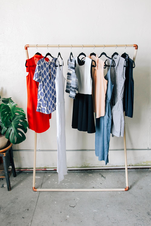 leaning garment rack diy designcomb