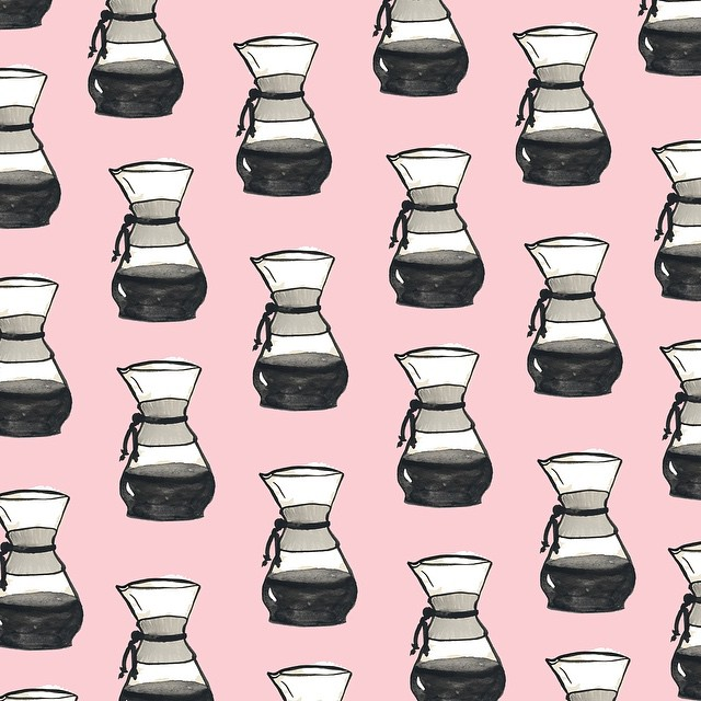 Chemex Coffee Culture Pattern by Sara Combs | DesignComb