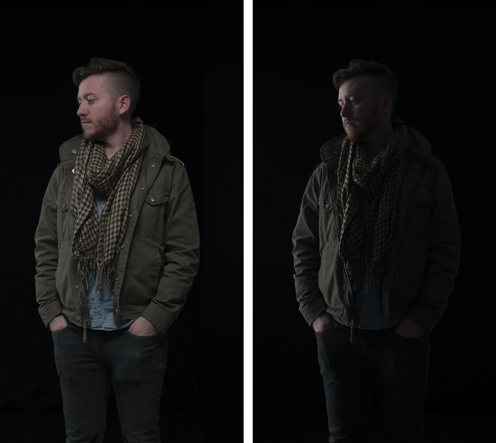 The left image is the very first shot I took, and the right is the second shot taken with just one light on.