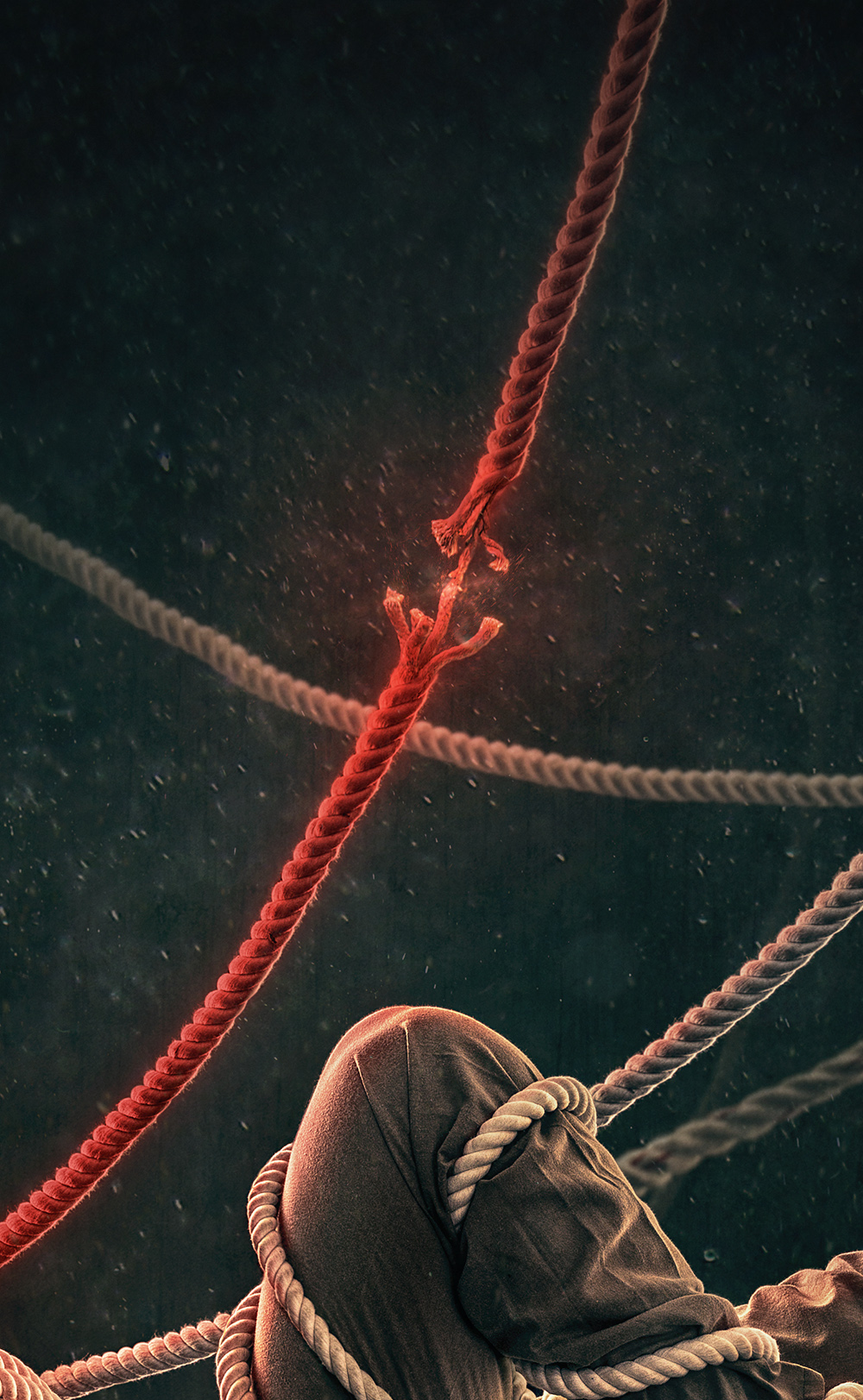 ripping rope close up