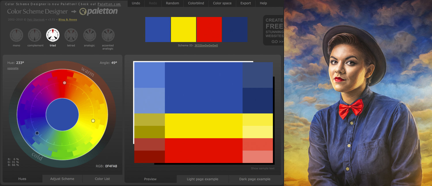 Color Scheme Designer working with color harmonies — robert cornelius